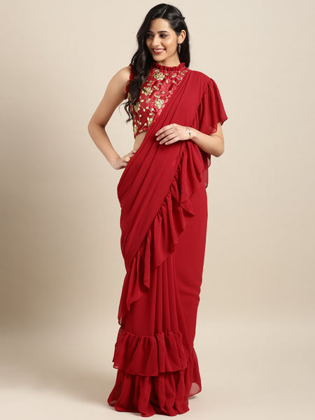 Red Colored Georgette Embroidered Designer Ruffle Saree