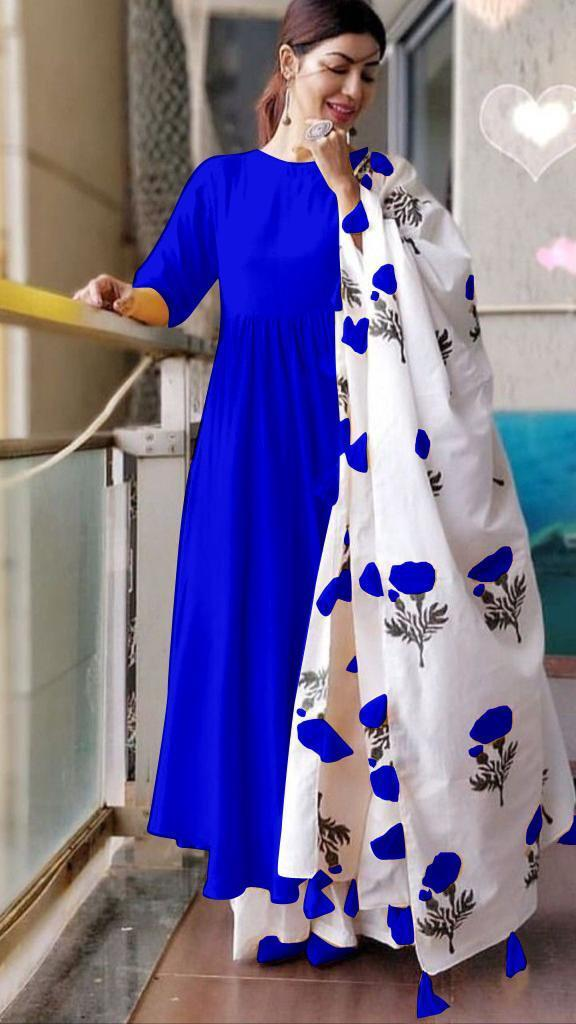 Unique Blue Colored Cotton Designer Plazo Suit With Printed Dupatta