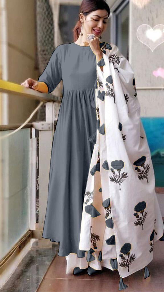 Trendy Grey Colored Cotton Designer Plazo Suit With Printed Dupatta