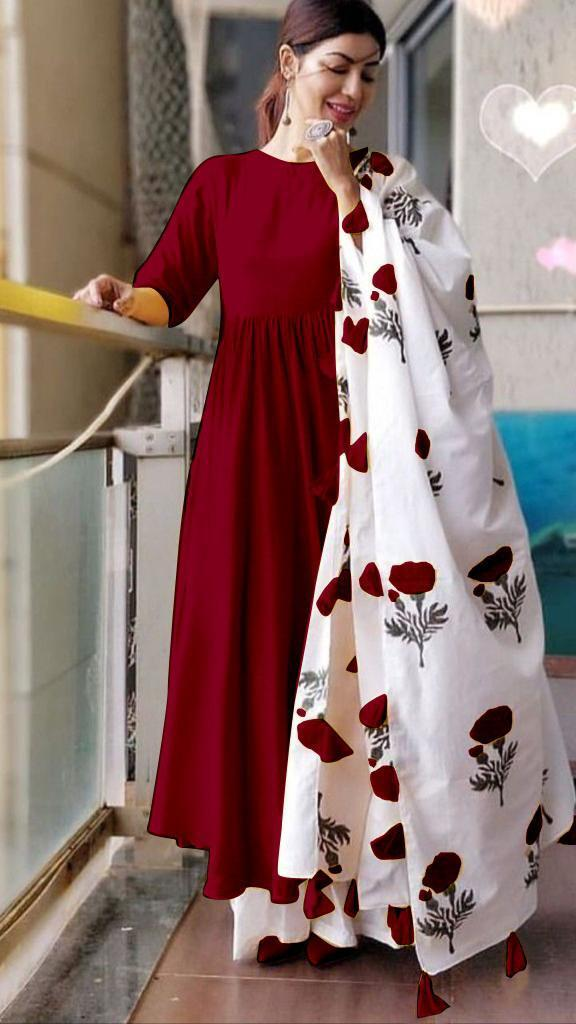 Adorable Maroon Colored Cotton Designer Plazo Suit With Printed Dupatta