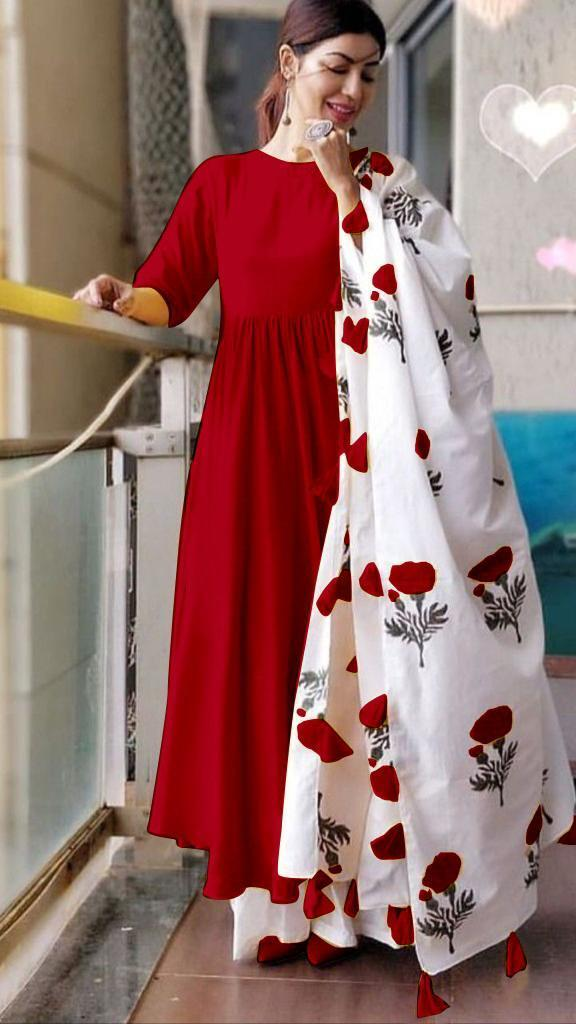 Lovely Red Colored Cotton Designer Plazo Suit With Printed Dupatta
