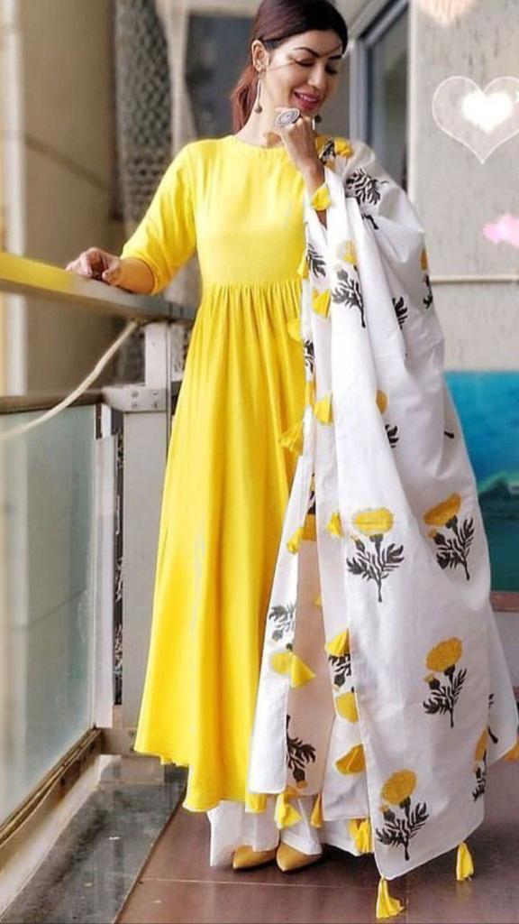 Staring Yellow And White Colored Cotton Plazzo Suit With Printed Dupatta