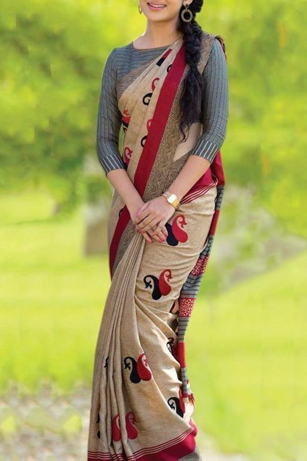 Glorious Cream Colored Soft Silk Printed Designer Saree