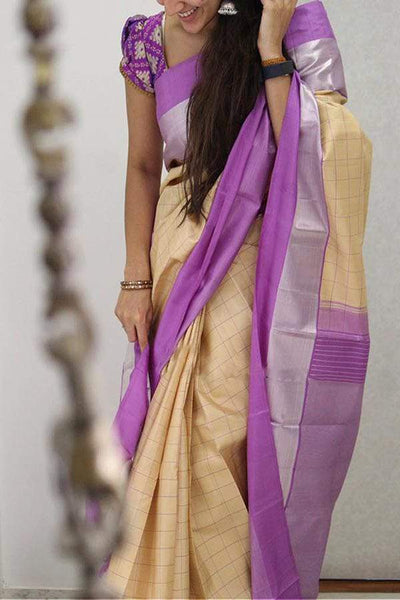 Pretty Cream And Purple Colored Soft Silk Designer Saree