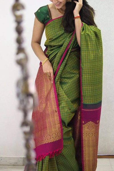 Stylish Green Colored Soft Silk Designer Festive Wear Saree