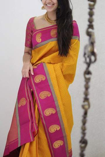 Adorning Yellow Colored Soft Silk Printed Designer Saree With Blouse