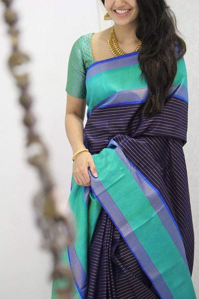 Charminng Neavy Blue Colored Soft Silk Designer Saree