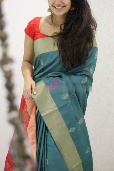 Refreshing Rama Colored Soft Silk Festive Wear Saree