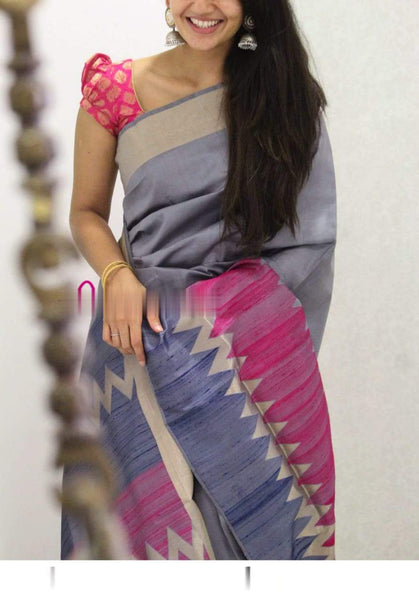 Lovely Grey Colored Soft Silk Designer Wedding Wear Saree