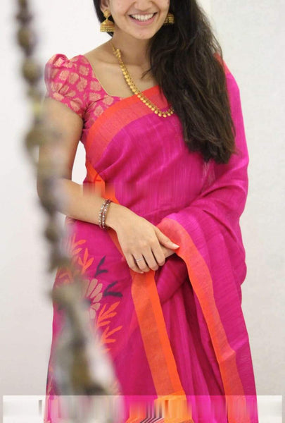 Pretty Pink Colored Soft Silk Partywear Designer Saree