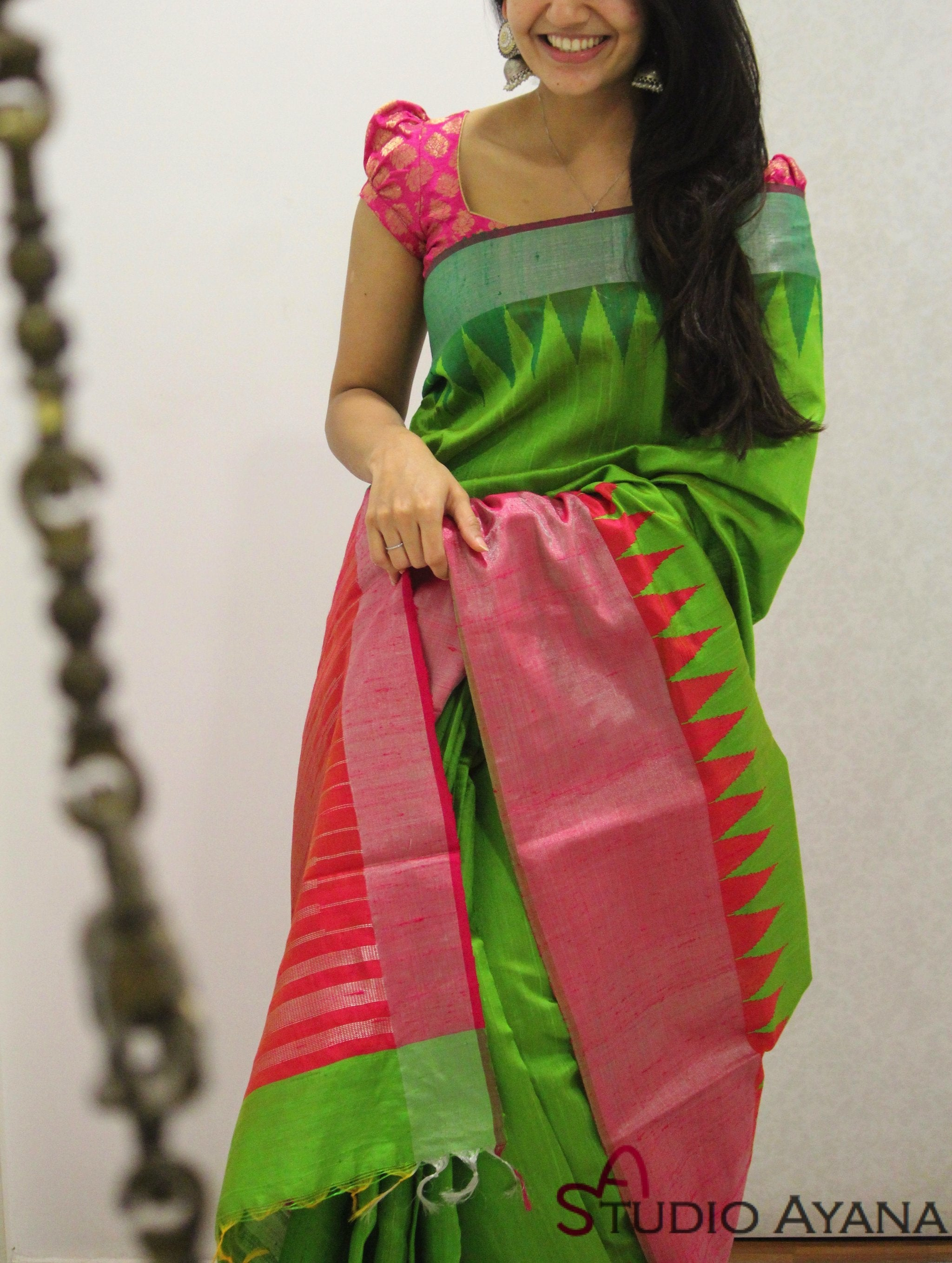 Innovative Green Colored Soft Silk Designer Festive Wear Saree