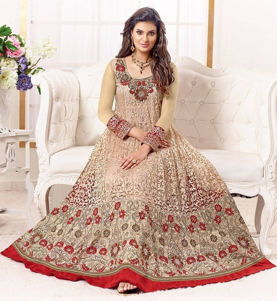 Trendy Cream Colored Brasso Net Embroidered Designer Anarkali Suit
