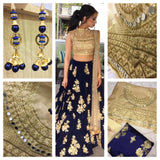 Blue Colored Silk Embroidered Designer Lehenga Choli With Dupatta