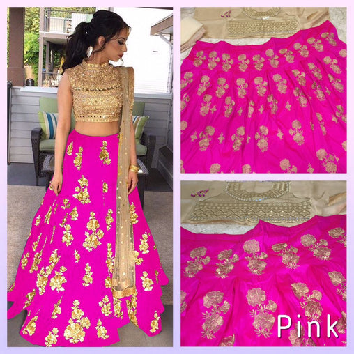 Pink Colored Silk Embroidered Designer Lehenga Choli With Dupatta