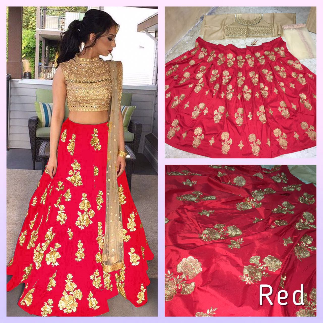 Red Colored Silk Embroidered Designer Lehenga Choli With Dupatta