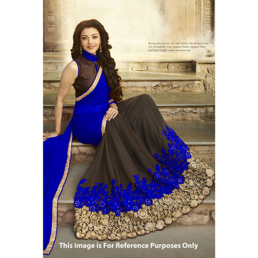 Engrossing Blue And Coffee Colored Embroidered Georgette Sarees