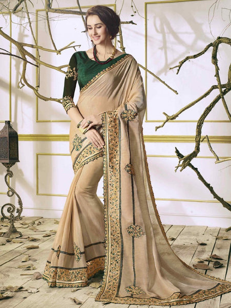 Energetic Cream Colored Silk Embroidered Designer Partywear Saree