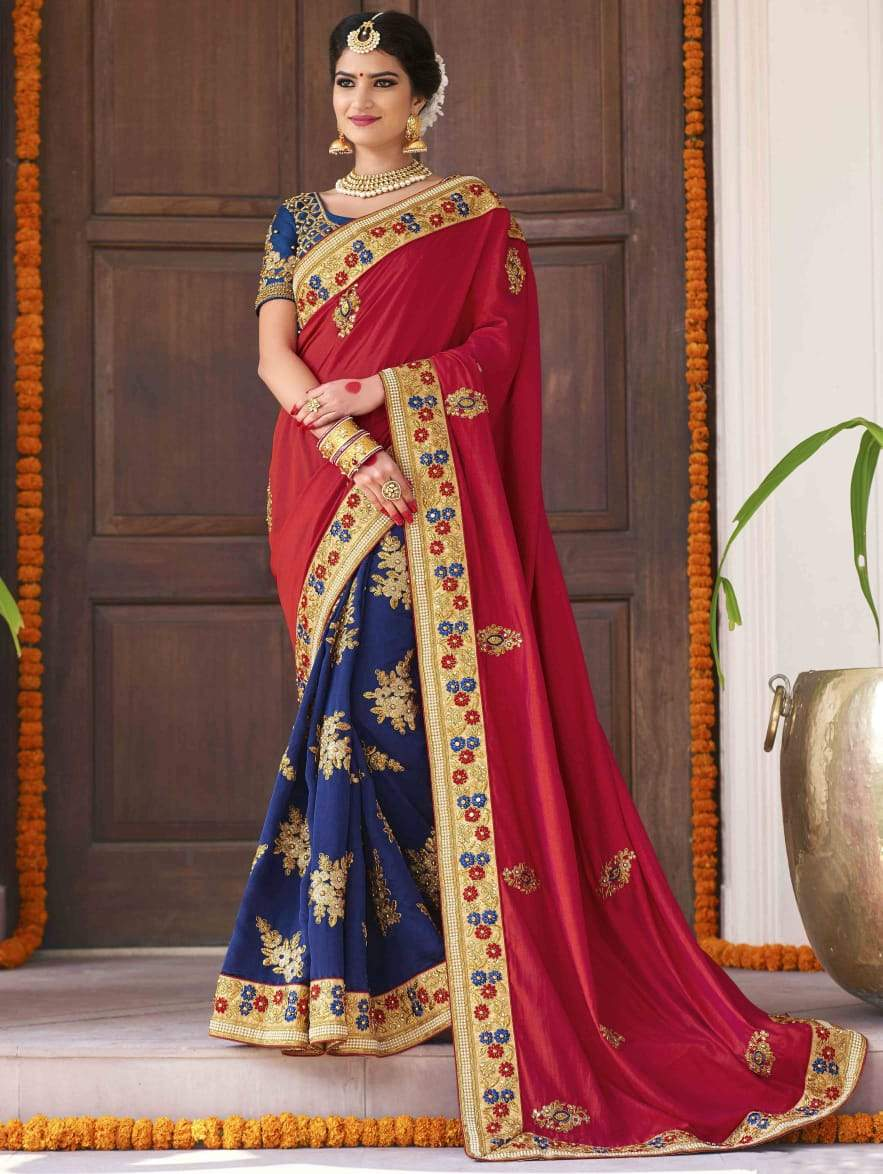 Amazing Neavy Blue And Red Colored Wedding Wear Designer Silk Saree