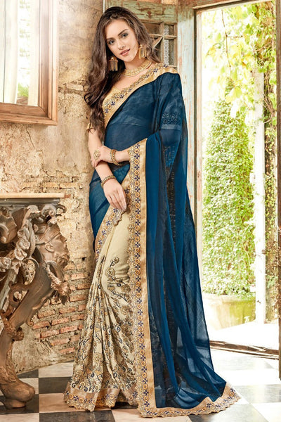 Flamboyant Blue And Cream Colored Silk Partywear Designer Saree