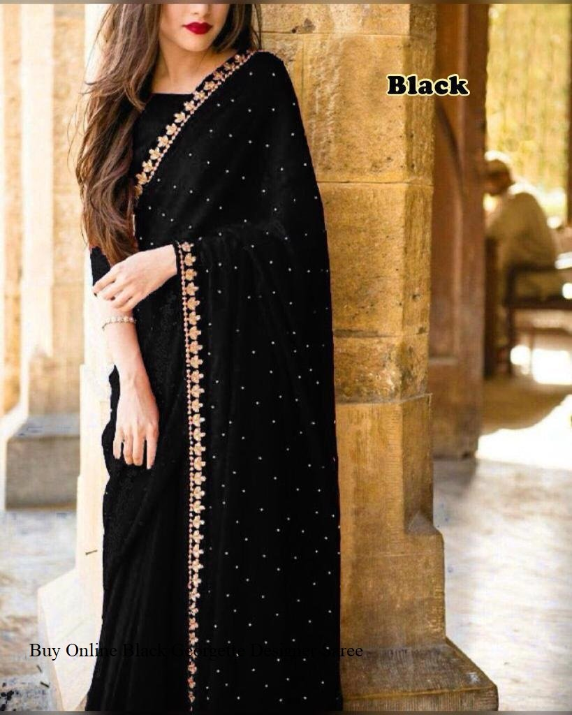 Unique Black Colored Embroidered Designer Georgette Saree