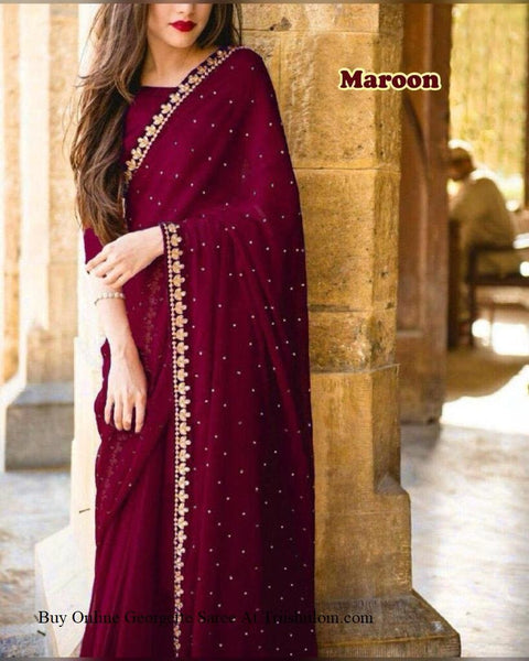 Unique Maroon Colored Embroidered Designer Georgette Saree