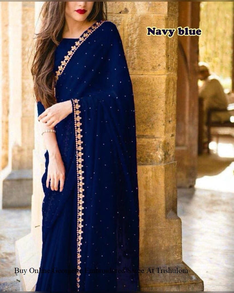 Unique Neavy Blue Colored Designer Embroidered Georgette Saree