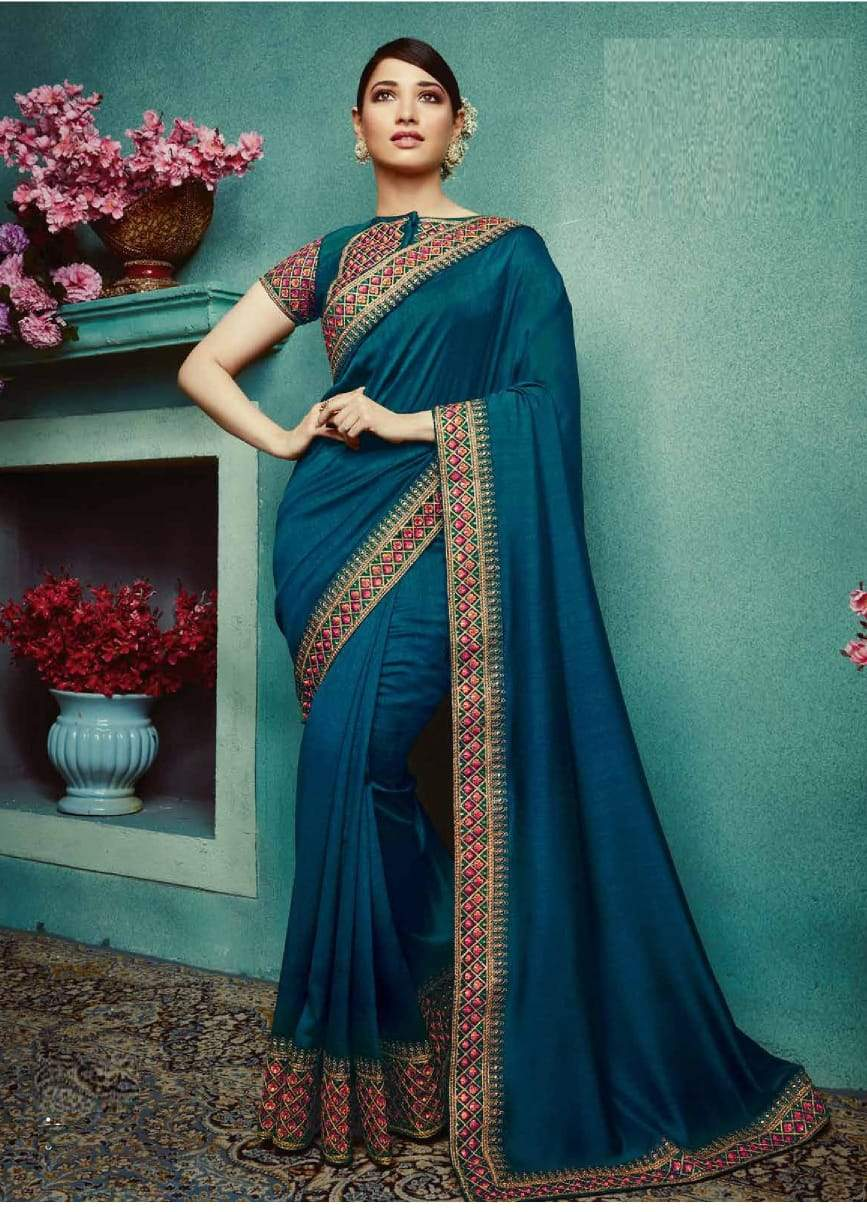 Adorable Sky Colored Embroidered Designer Silk Saree