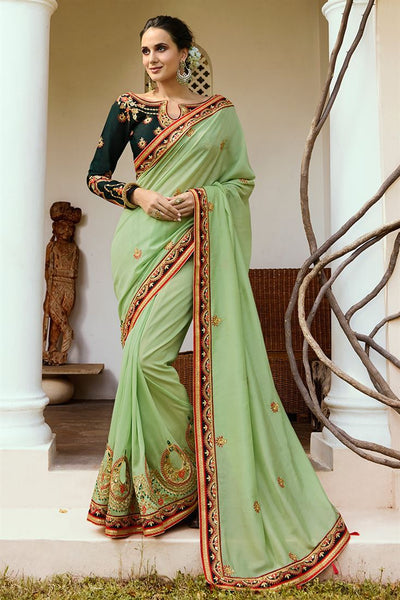 Intricate Pista Colored Embroidered Designer Silk Sarees