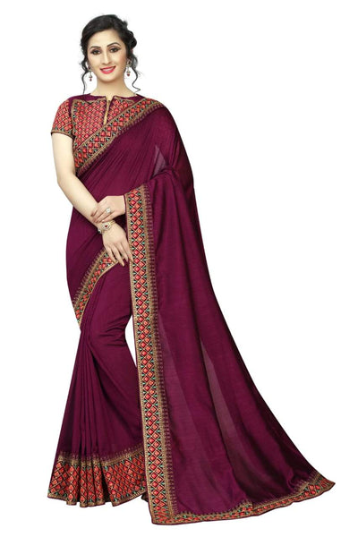 Classy Rani Colored Silk Embroidered Designer Saree
