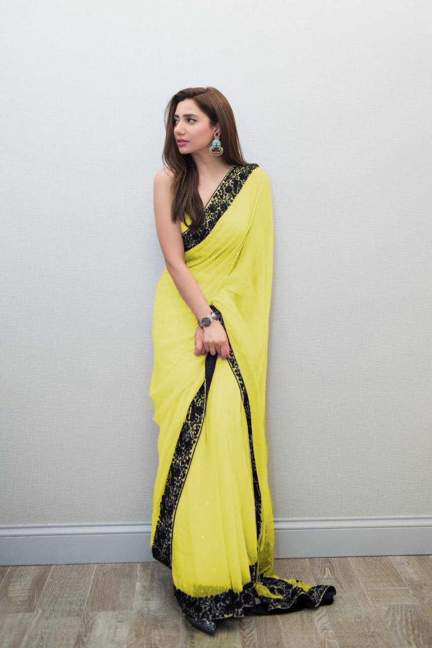 Exceptional Light Yellow Colored Georgette Embroidered Designer Saree