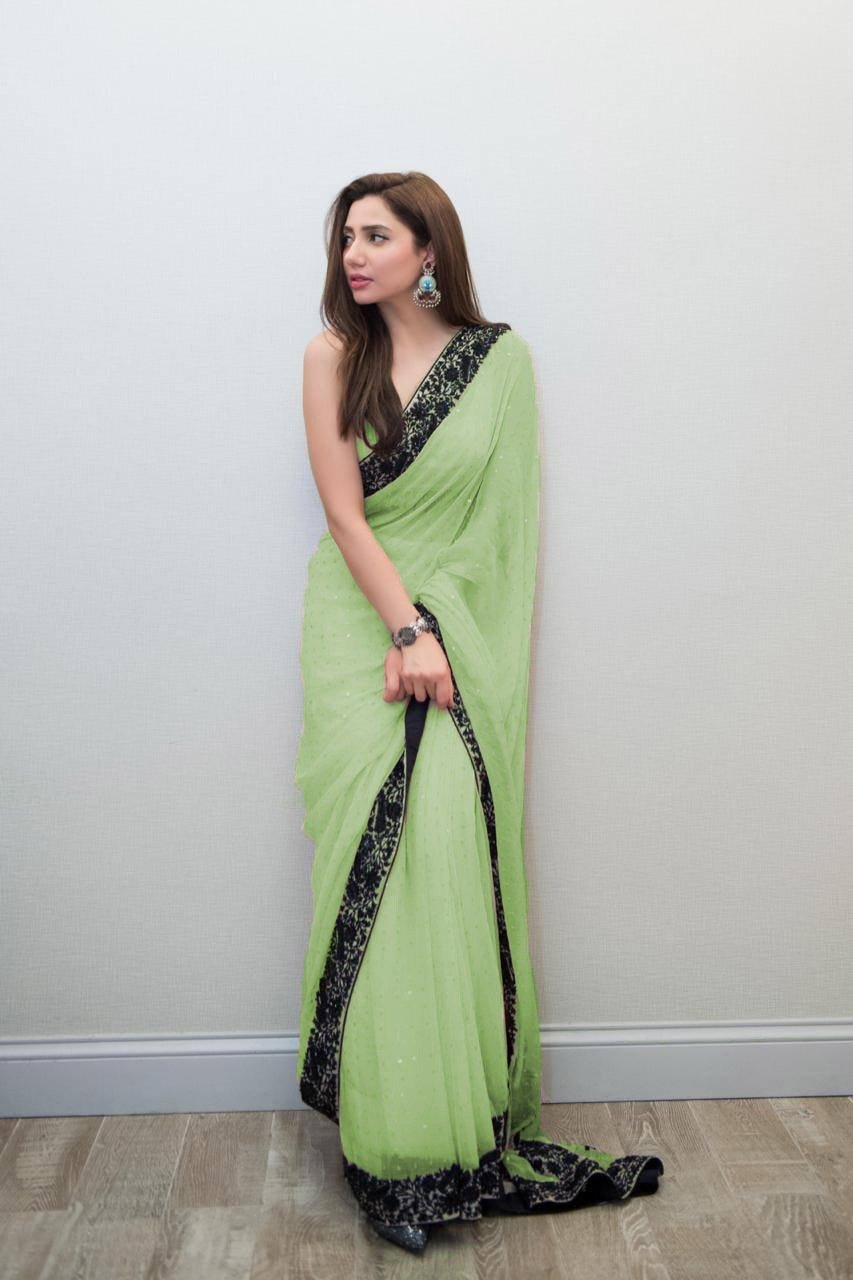 Exceptional Pista Colored Georgette Designer Embroidered Saree