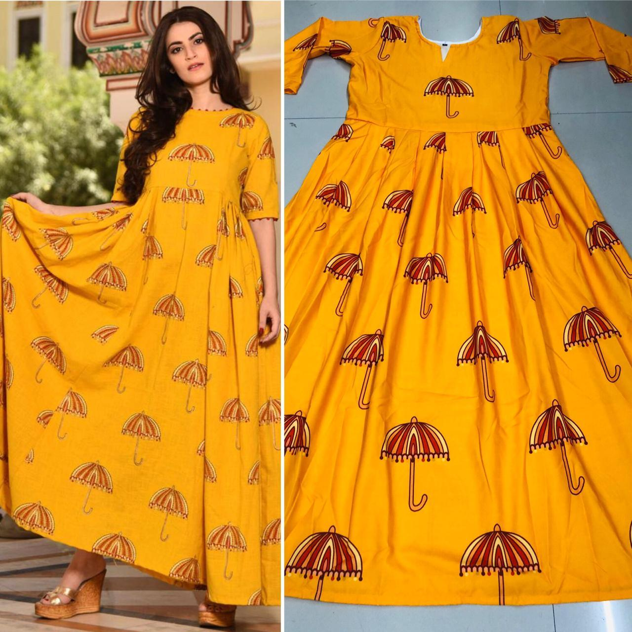 Lavishing Yellow Colored Cotton Silk Printed Designer Long Gown