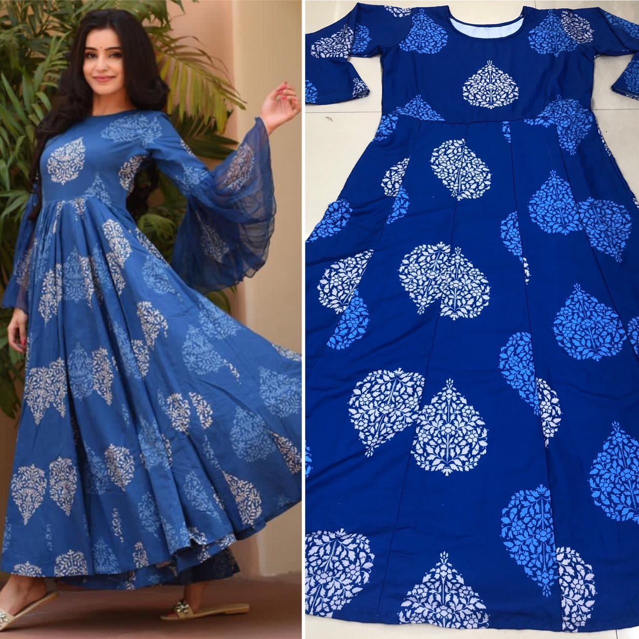 Attractive Blue Colored Cotton Silk Latest Designer Printed Gown