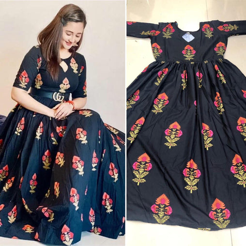 Beautiful Black Colored Silk Printed Latest Designer Gown