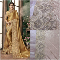 Impressive Chikoo Colored Silk Embroidered Designer Wedding Wear Saree
