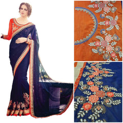 Fantastic Neavy Blue Colored Georgette Embroidered Designer Partywear Saree
