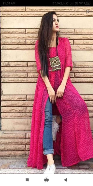 Glowing Pink Colored Georgette Printed Designer Kurtis
