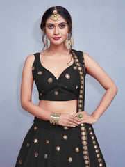 Black Colored Silk Embroidered Designer Mirror Work Lehenga Choli