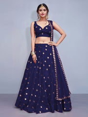 Stunning Neavy Blue Colored Silk Embroidered Designer Lehenga Choli