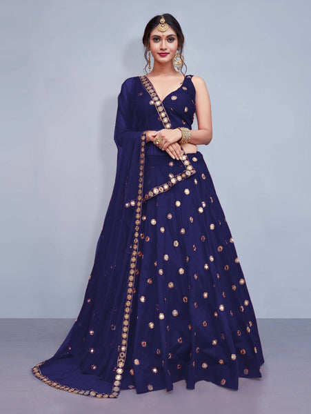 Neavy Blue Colored Silk Embroidered Designer Mirror Work Lehenga Choli