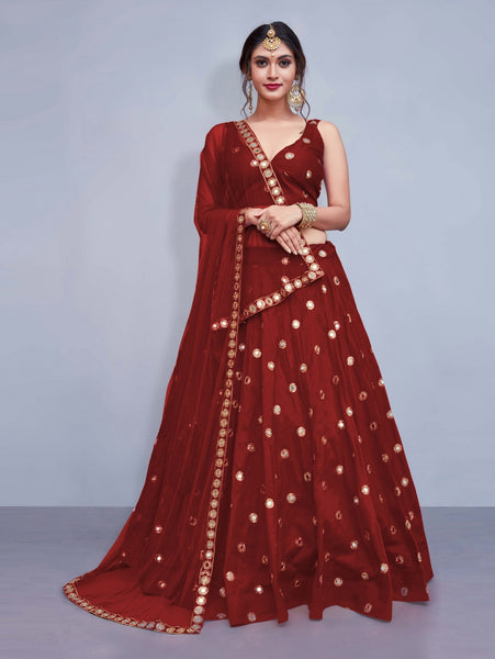 Maroon Colored Silk Embroidered Designer Mirror Work Lehenga Choli