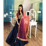 Neavy Blue Colored Embroidered Designer Lehenga Choli