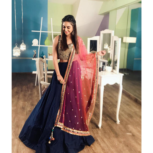 Intricate Neavy Blue Colored Silk Embroidered Mirror Work Lehenga Choli