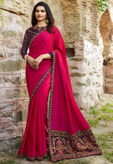 Adorable Pink Colored Silk Embroidered Designer Saree