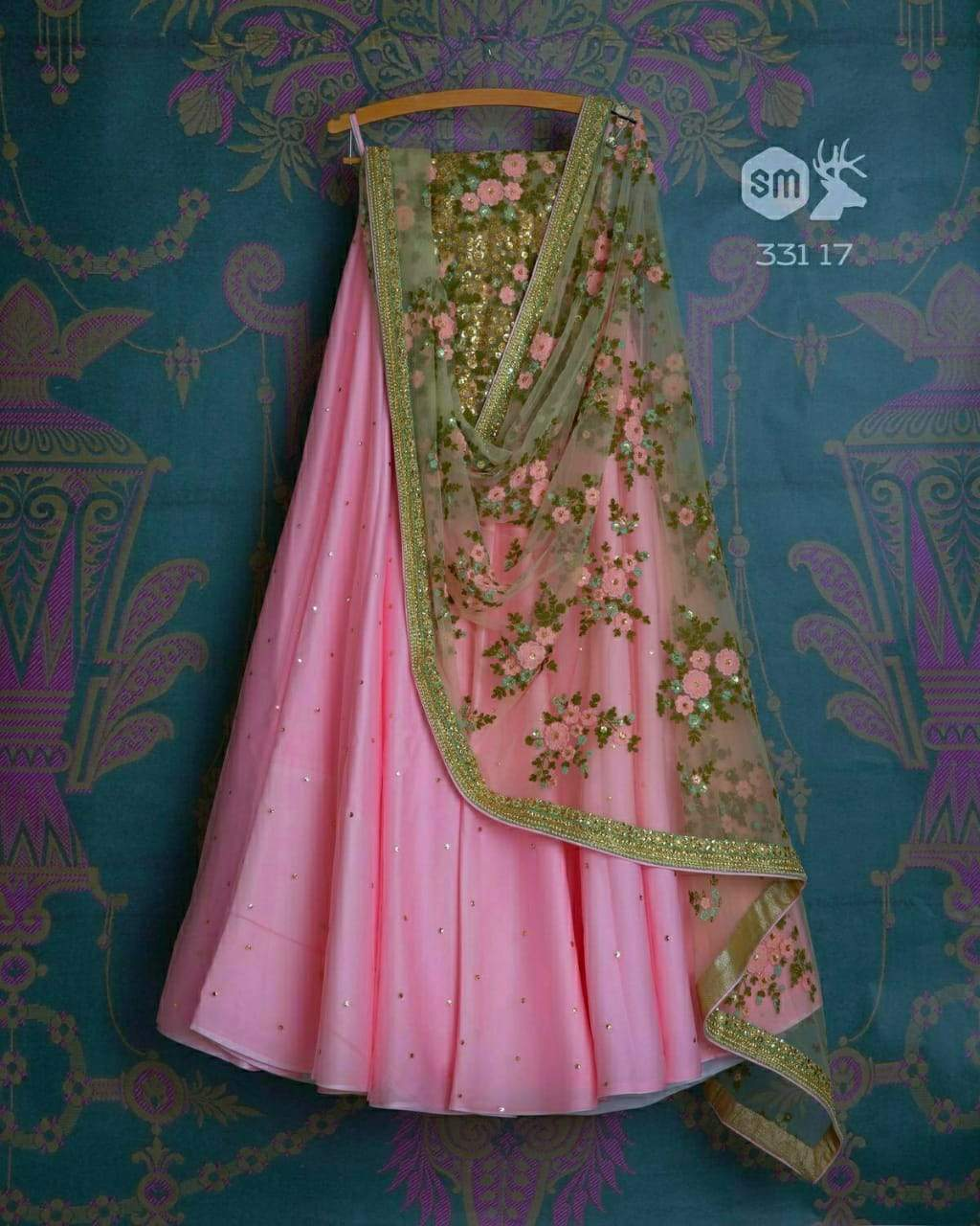 Glorious Light Pink Colored Rangoli Silk Embroidered Designer Lehenga Choli