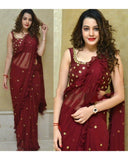Jazzy Maroon Colored Georgette Embroidered Ruffle Saree
