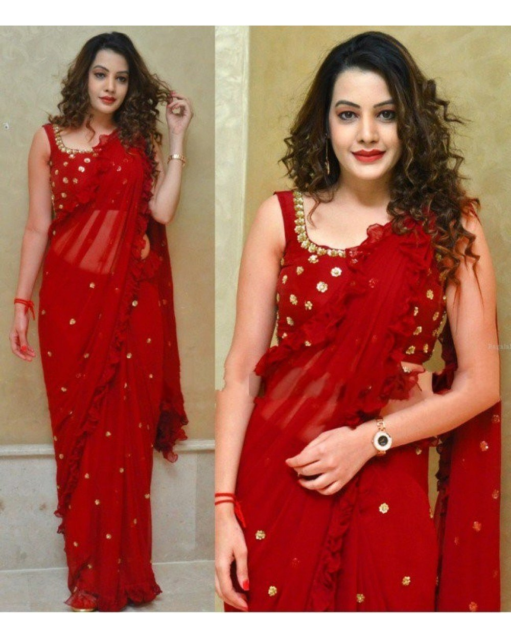 Jazzy Red Colored Georgette Embroidered Ruffle Saree