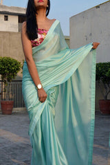 Sky Colored Georgette Plain Designer Saree With Printed Blouse