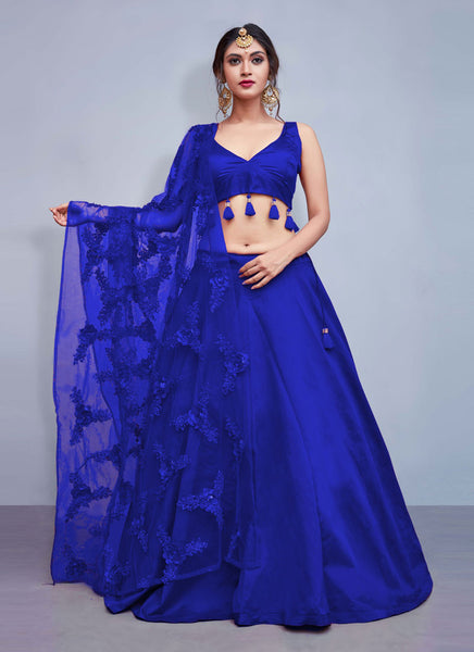 Royal Blue Silk Designer Lehenga Choli | Zukecart