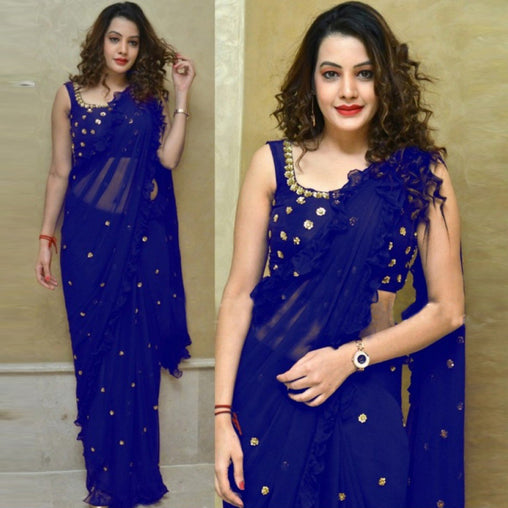 Glorious Blue Colored Georgette Embroidered Designer Ruffle Saree